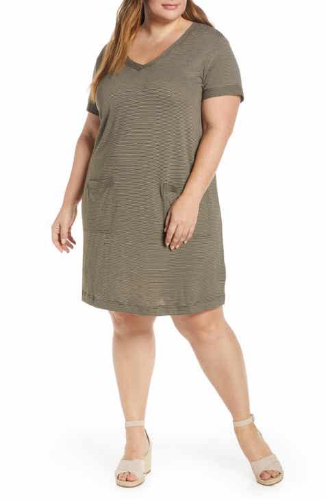 7cdec444c2d Caslon® Patch Pocket V-Neck T-Shirt Dress (Plus Size)