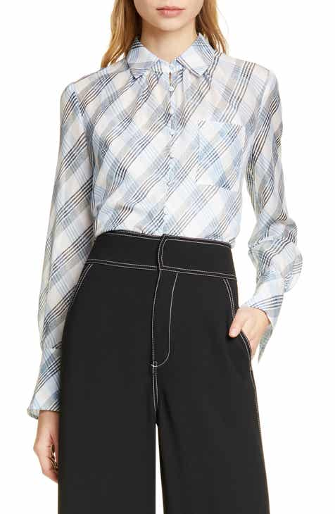 6f74e23521e272 Joie Malcah Plaid Silk Blouse