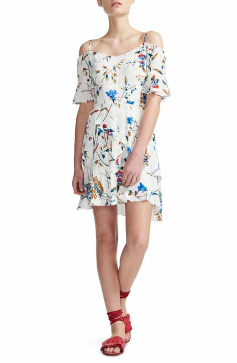 maje Rhina Floral Cold Shoulder Minidress