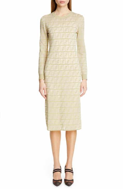 06d8690c6a7 Fendi Long Sleeve Logo Jacquard Sweater Dress