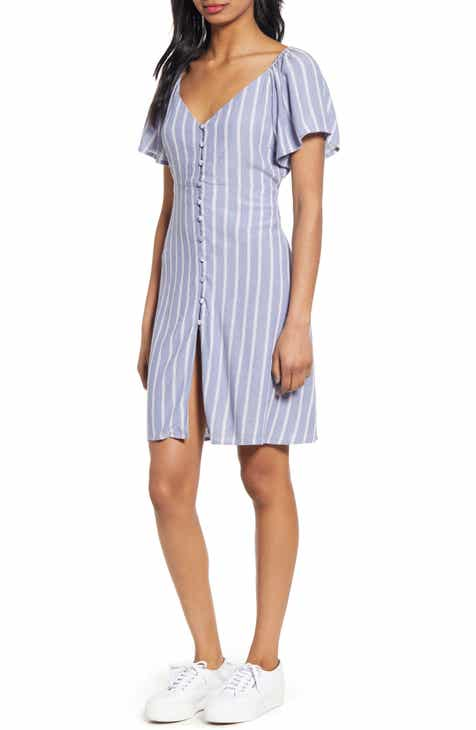 Caslon® Plaid Linen Blend Shift Dress (Plus Size) by CASLON