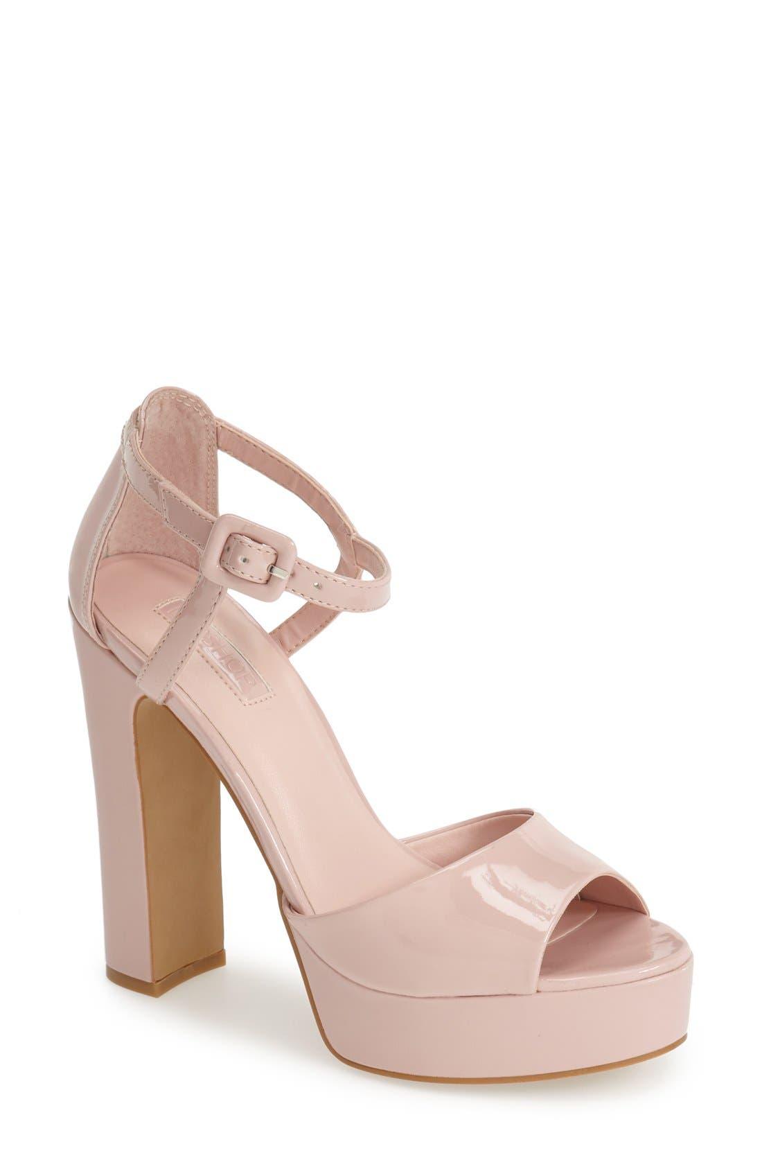 Alternate Image 1 Selected - Topshop 'Lena' Ankle Strap Platform Sandal (Women)