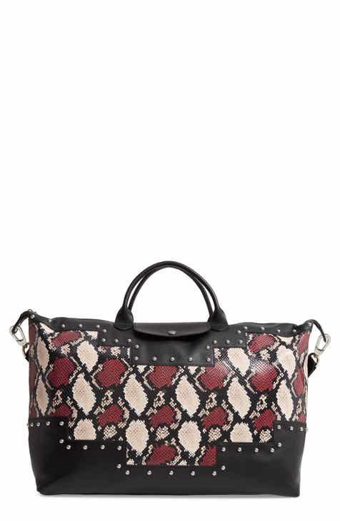 061a6a9ba5b4 Longchamp Le Pliage Python Embossed Leather Satchel