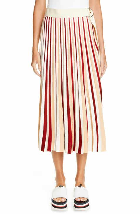 Fendi Drop Waist Pleated Mohair & Wool Midi Skirt by FENDI
