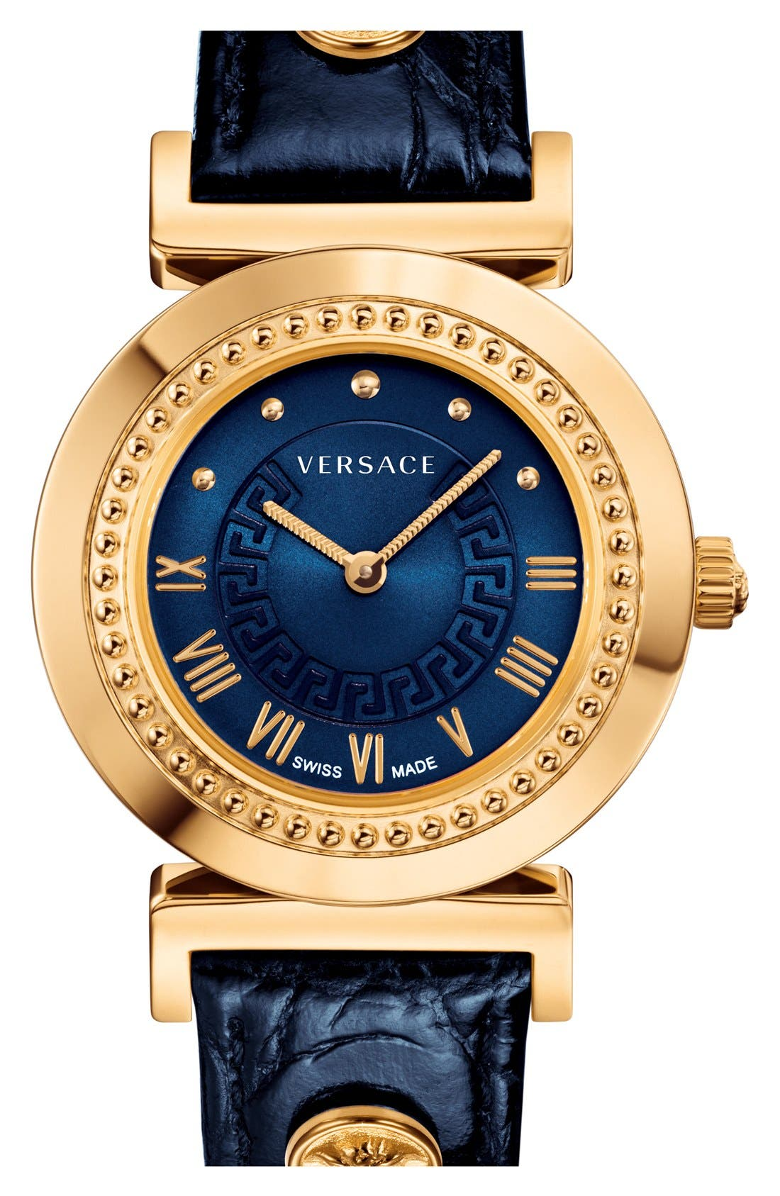Main Image - Versace 'Vanity' Leather Strap Watch, 35mm