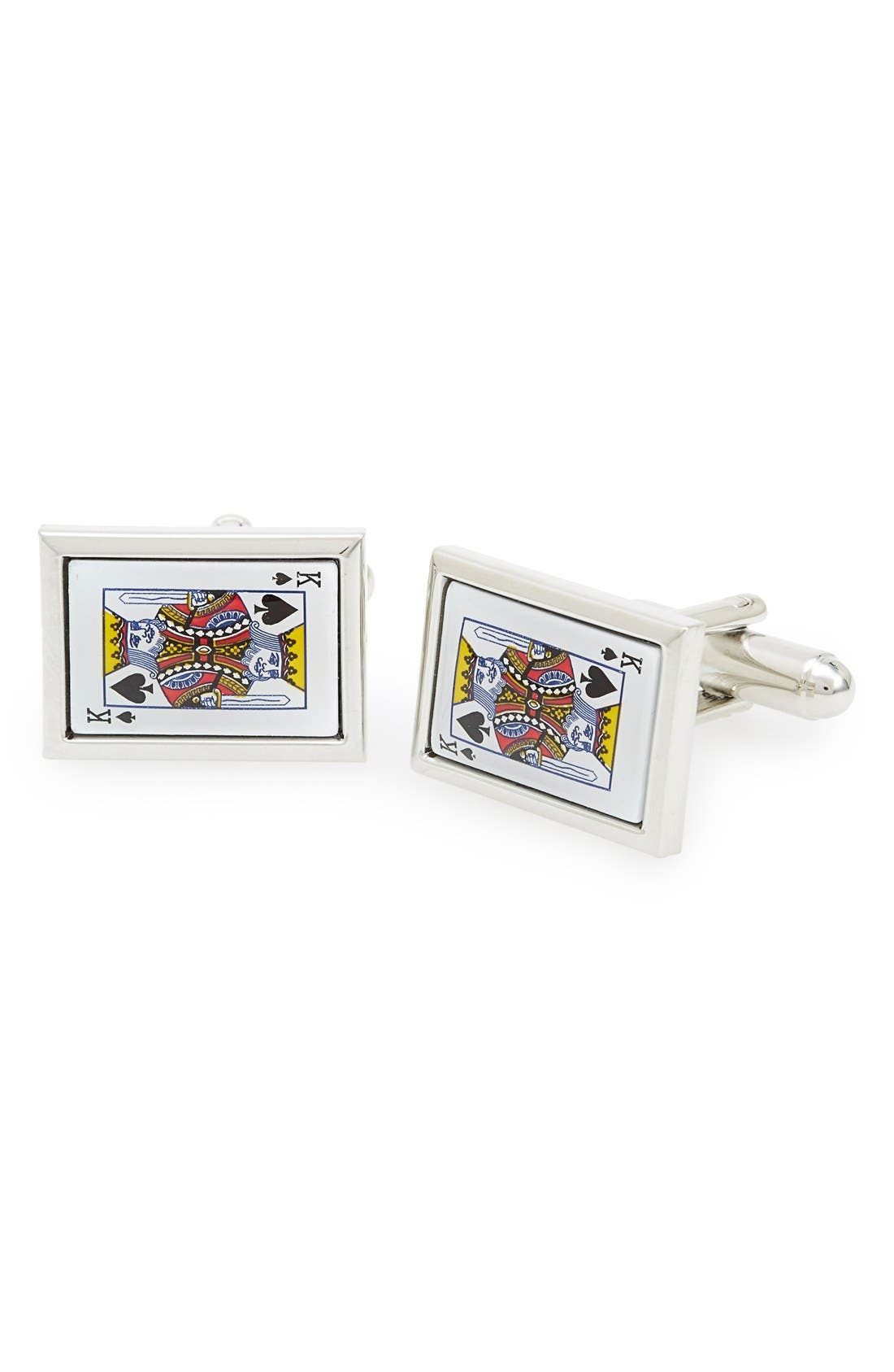 'King Card' Cuff Links,                         Main,                         color, Silver