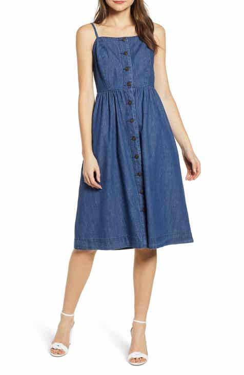 2522b8fbea4 VERO MODA Flavia Button Front Chambray Sundress