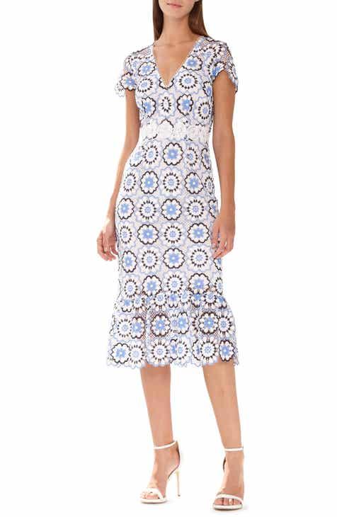 29516732785 ML Monique Lhuillier Multicolored Lace Sheath Dress