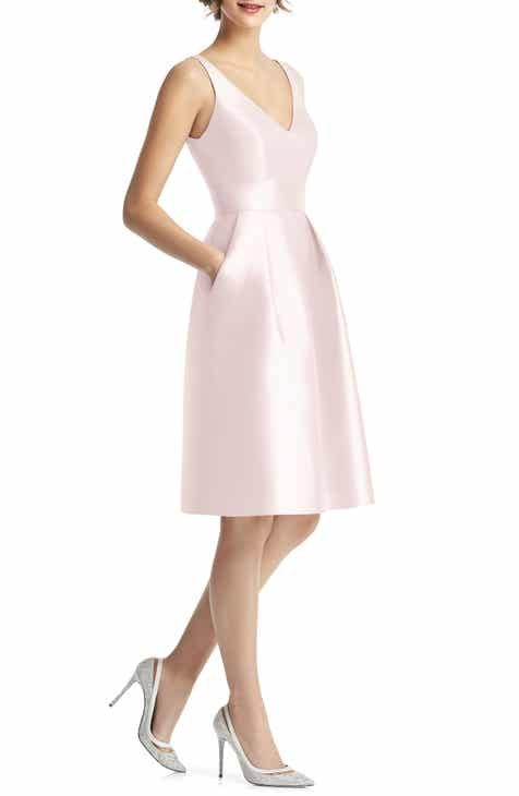 Alfred Sung V-Neck Satin Cocktail Dress Sale
