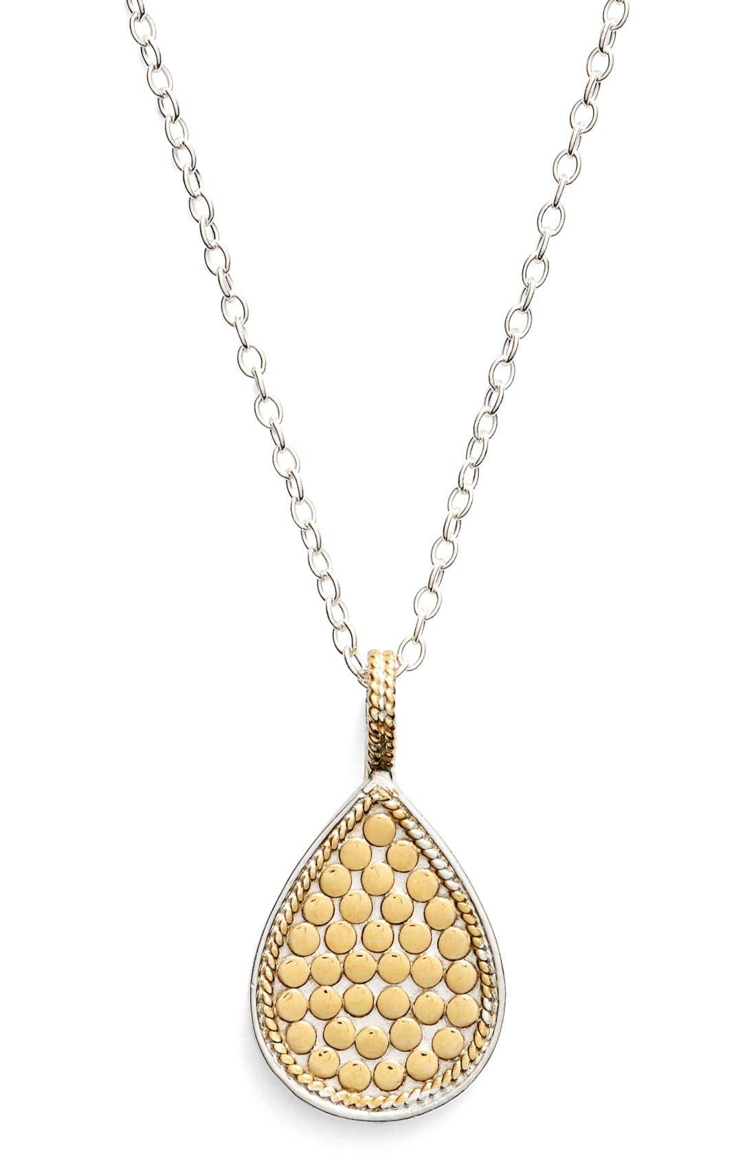 'Gili' Reversible Teardrop Pendant Necklace,                         Main,                         color, Gold/ Silver