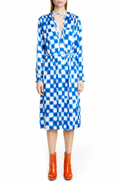 Dries Van Noten Dion Block Print Long Sleeve Dress by DRIES VAN NOTEN