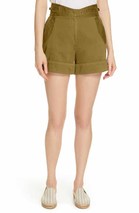 NSF Clothing Annora Paperbag Waist Linen Blend Shorts by NSF CLOTHING