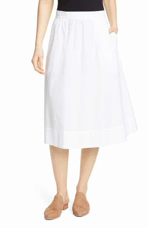 58fa294a4a Eileen Fisher Gathered Organic Stretch Cotton Midi Skirt