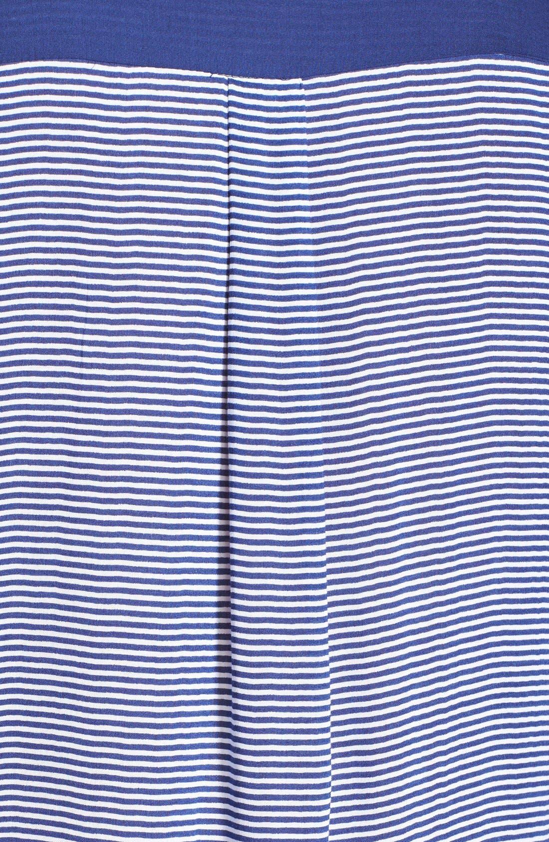 Colorblock Long Sleeve Woven Caftan,                             Alternate thumbnail 3, color,                             Blue Stripe