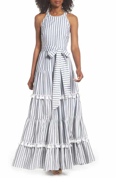 1e3ab037bedb Eliza J Tiered Tassel Fringe Cotton Maxi Dress (Regular   Petite)