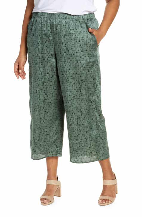 0e7a62c92a6 Eileen Fisher Print Wide Leg Silk   Cotton Crop Pants (Plus Size)