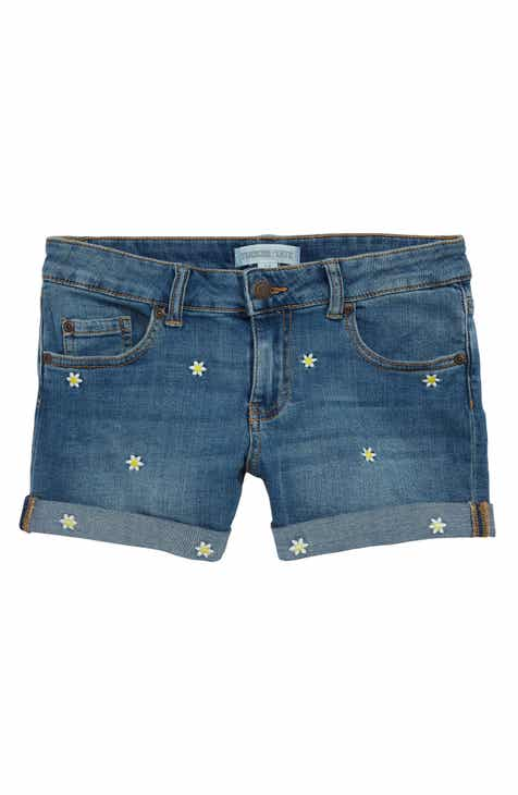 Tucker + Tate Embroidered Denim Shorts (Big Girls)