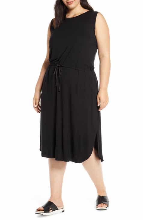 Eileen Fisher Drawstring Stretch Tencel® Lyocell Midi Dress (Plus Size)