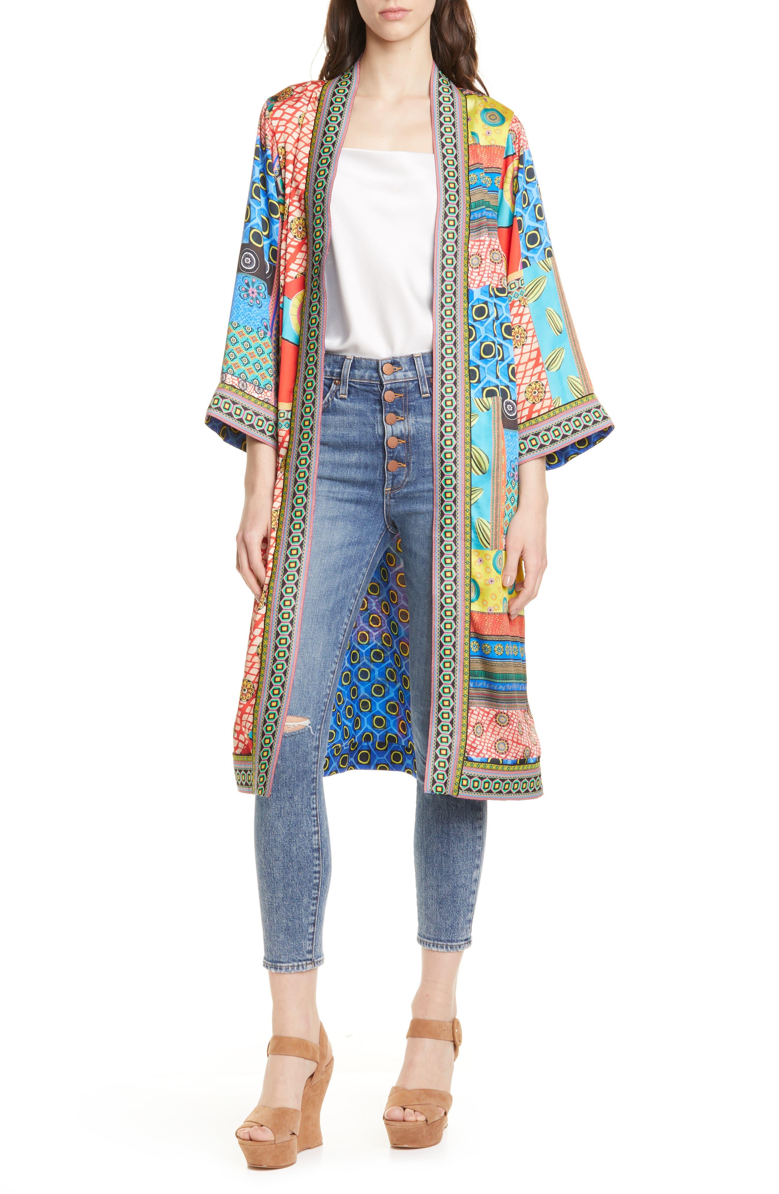 Women's Clothing Supply Women 2018 Vintage Retro Floral Print Green Color Long Design Kimono Coat Jacket Long Sleeve Cardigan Maxi Shawl Tops