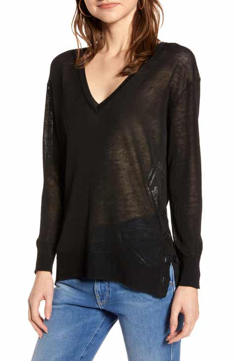 8c1492b5d5ad4 J.Crew Side Button Linen Blend V-Neck Sweater (Regular   Plus Size)