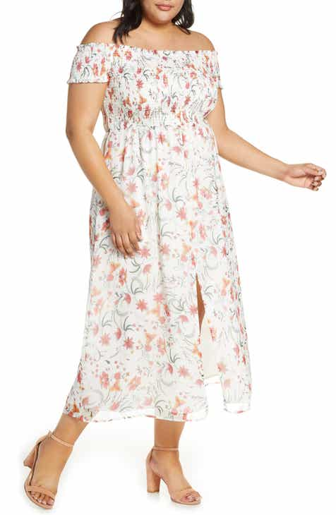 76366b5c0a39 CeCe Smocked Off the Shoulder Midi Dress (Plus Size)
