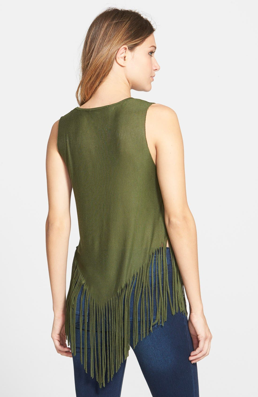 Alternate Image 2  - Living Doll 'Rosebud' Print Fringe Tank