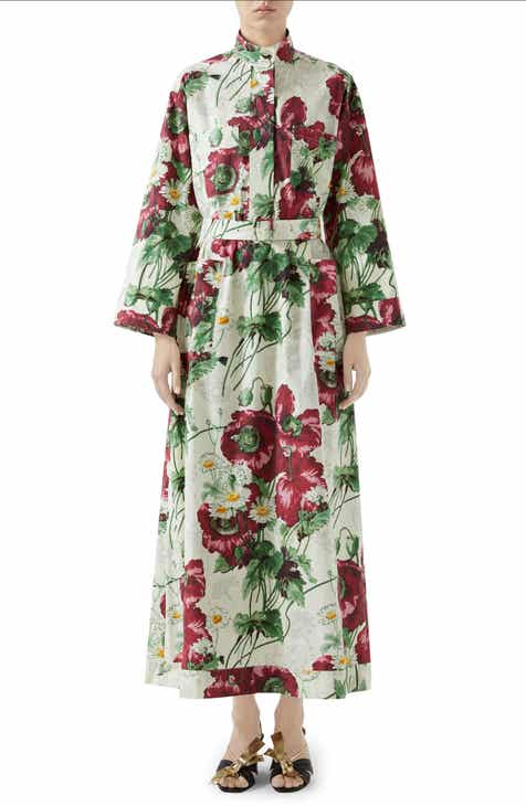 Gucci Poppy Print Poplin Long Sleeve Maxi Shirtdress
