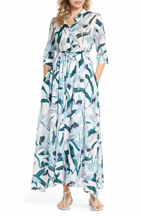 Tory Burch Print Cover-Up Maxi Shirtdress