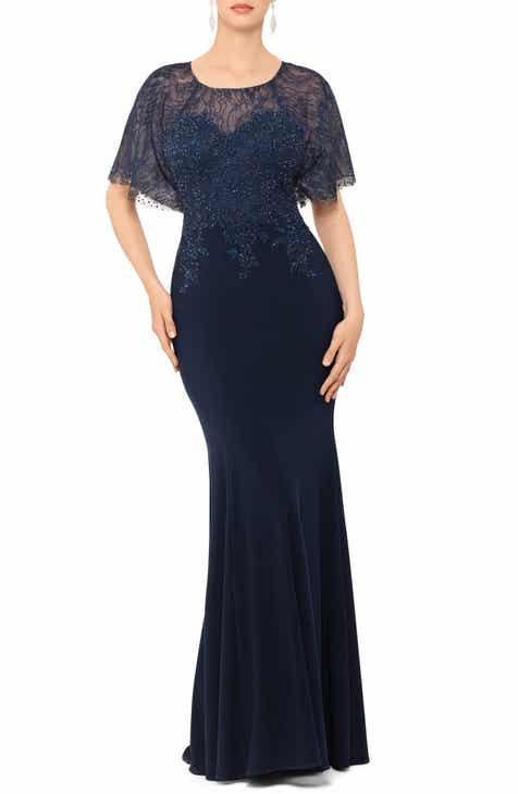Xscape Embroidered and Bead Embellished Trumpet Evening Gown