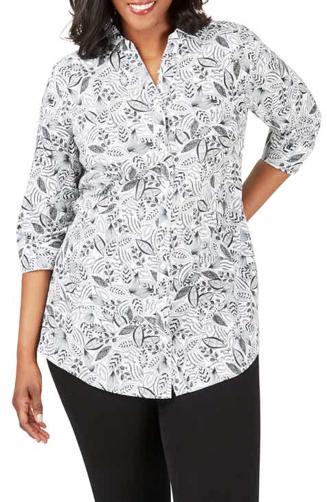 cba20b68 Foxcroft Faith Leaf Print Wrinkle Free Tunic Shirt (Plus Size)