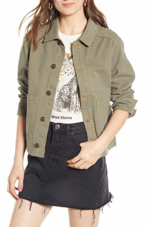 BLANKNYC Faux Suede Drape Front Jacket (Regular & Plus Size) by BLANKNYC