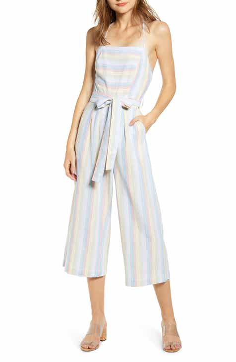 MOON RIVER Lace Up Back Linen Blend Jumpsuit