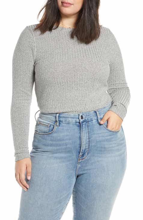 BP. Long Sleeve Ribbed Tee (Plus Size)