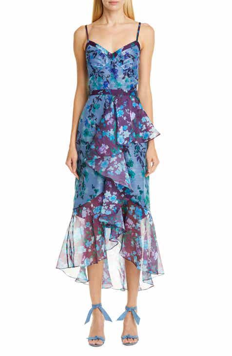 f05f9d98d09 Marchesa Notte High/Low Chiffon Midi Dress