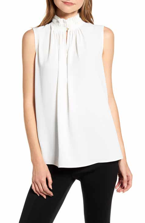 872c16802 Ming Wang Pleat Neck Sleeveless Crêpe de Chine Top
