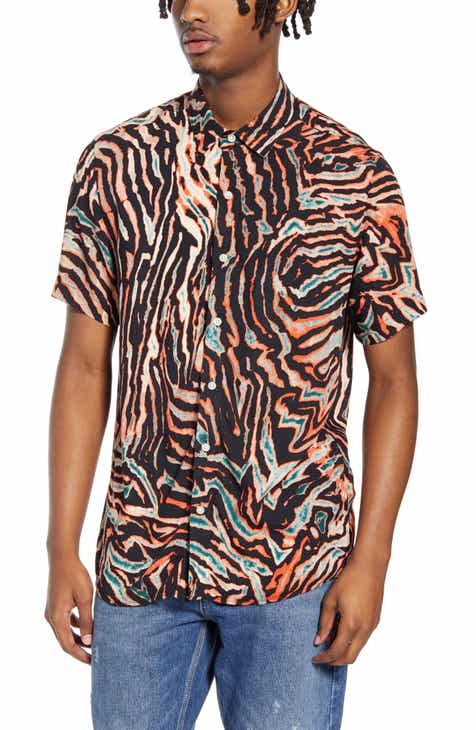 dc9e9fbdade62d Topman Slim Fit Bleach Tiger Print Short Sleeve Button-Up Shirt