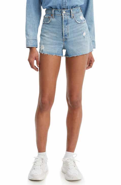 fbe024cb7ef3 Levi's® Ribcage High Waist Distressed Raw Hem Denim Shorts (Tango Beach)