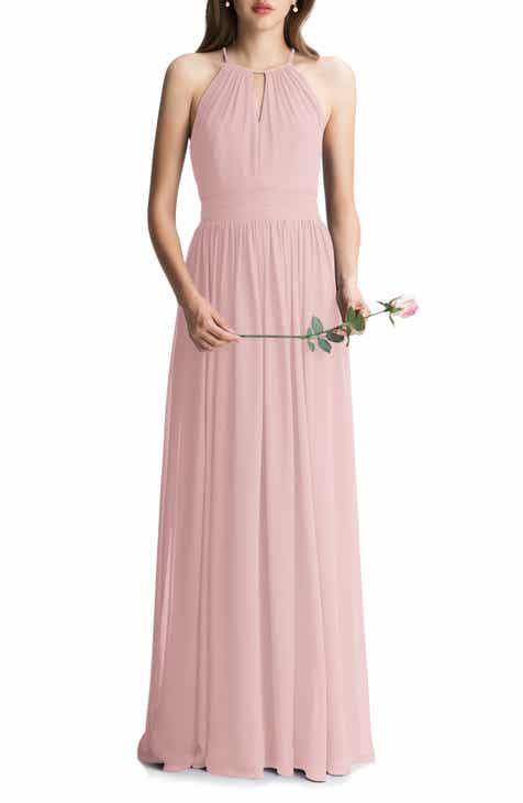 cd55c26b4d0d #Levkoff Keyhole Chiffon A-Line Gown