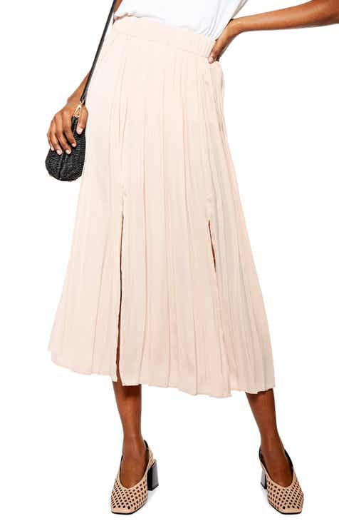 8a4ac8881 Topshop Double Slit Pleated Satin Midi Skirt