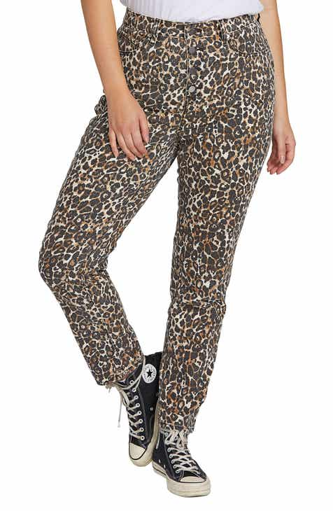Volcom Super Stoned Animal Print Ankle Skinny Jeans (Plus Size)