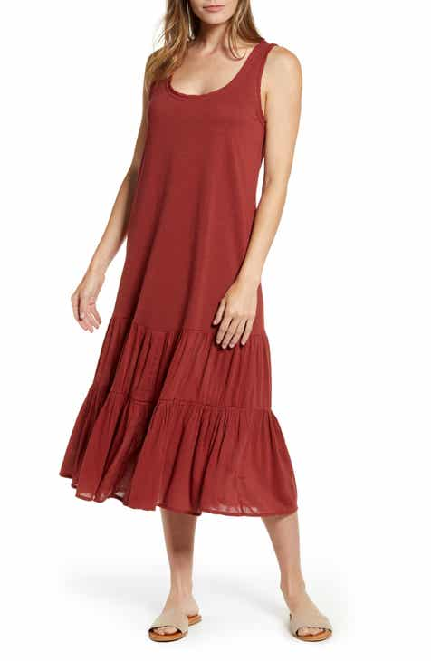 Caslon® Mixed Media Drop Waist Maxi Dress (Regular & Petite)