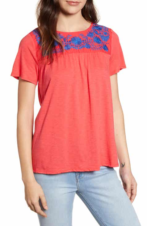 cd37854c2f26a9 Savannah Embroidered Yoke Tee (Regular & Petite) (Nordstrom Exclusive)