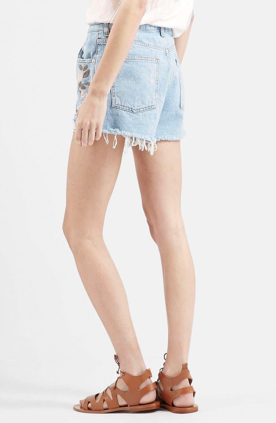 Alternate Image 2  - Topshop Moto Floral Embroidered Cutoff Denim Shorts (Light Denim)