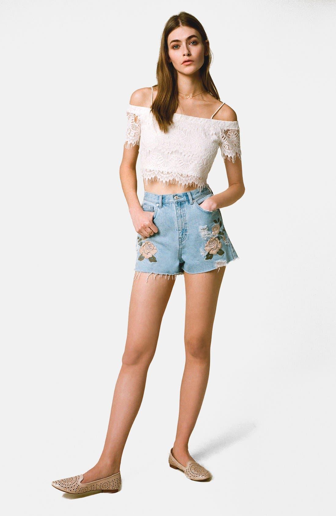 Alternate Image 6  - Topshop Moto Floral Embroidered Cutoff Denim Shorts (Light Denim)