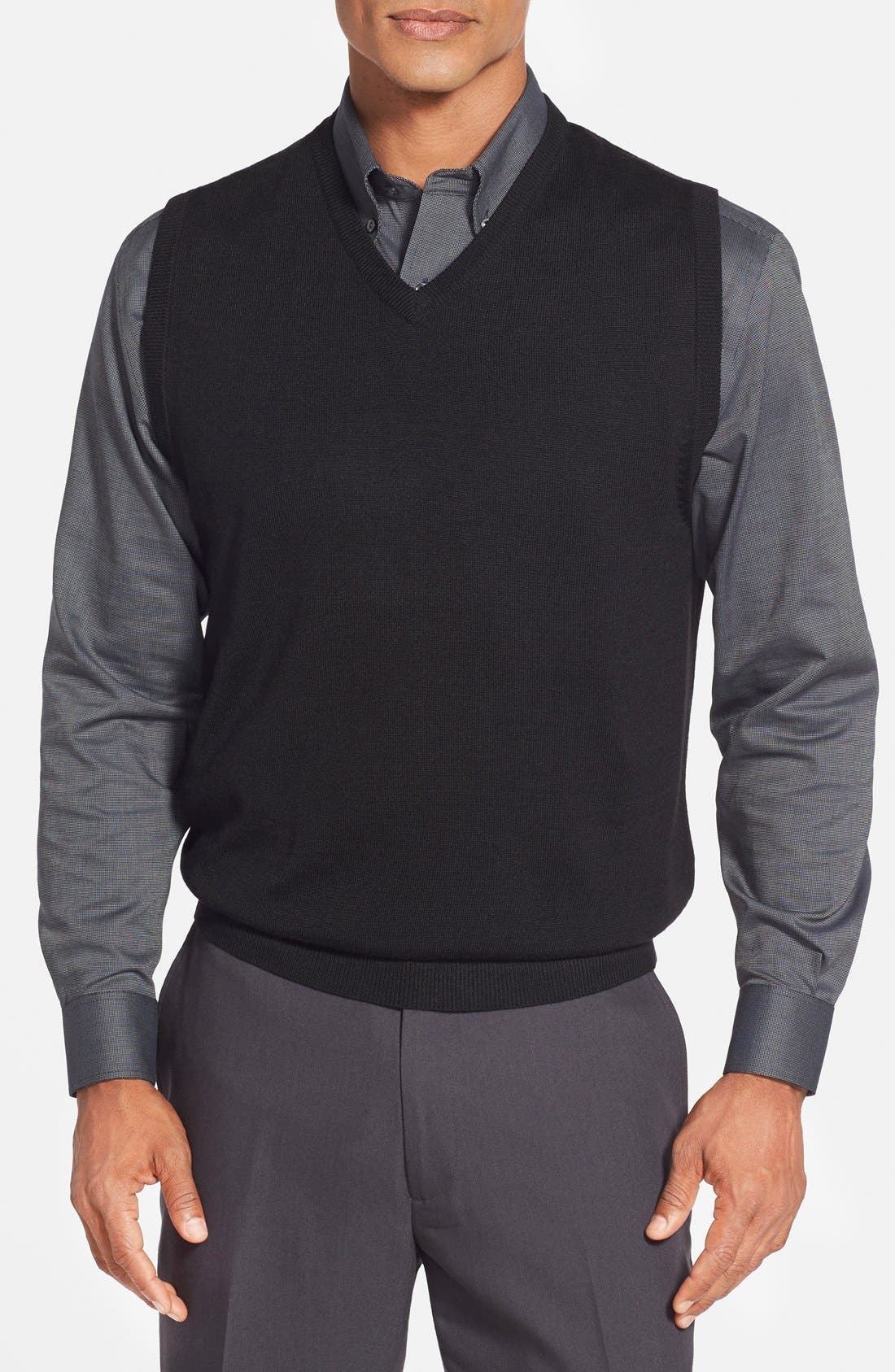 'Douglas' Merino Wool Blend V-Neck Sweater Vest,                             Main thumbnail 1, color,                             Black