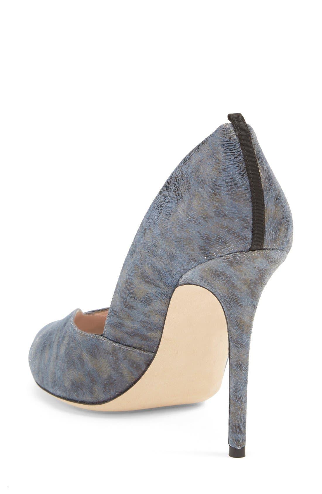 'Naomi' Peep Toe Pump,                             Alternate thumbnail 2, color,                             Blue Leopard Leather