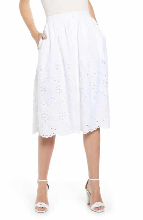 eb197e9e931 Rachel Parcell Eyelet Linen A-Line Skirt (Nordstrom Exclusive)