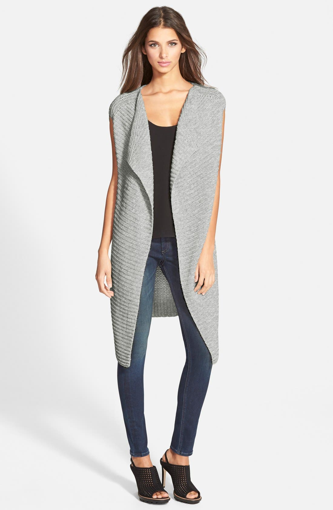 Ribbed Open Front Vest,                         Main,                         color, Heathr Light Grey
