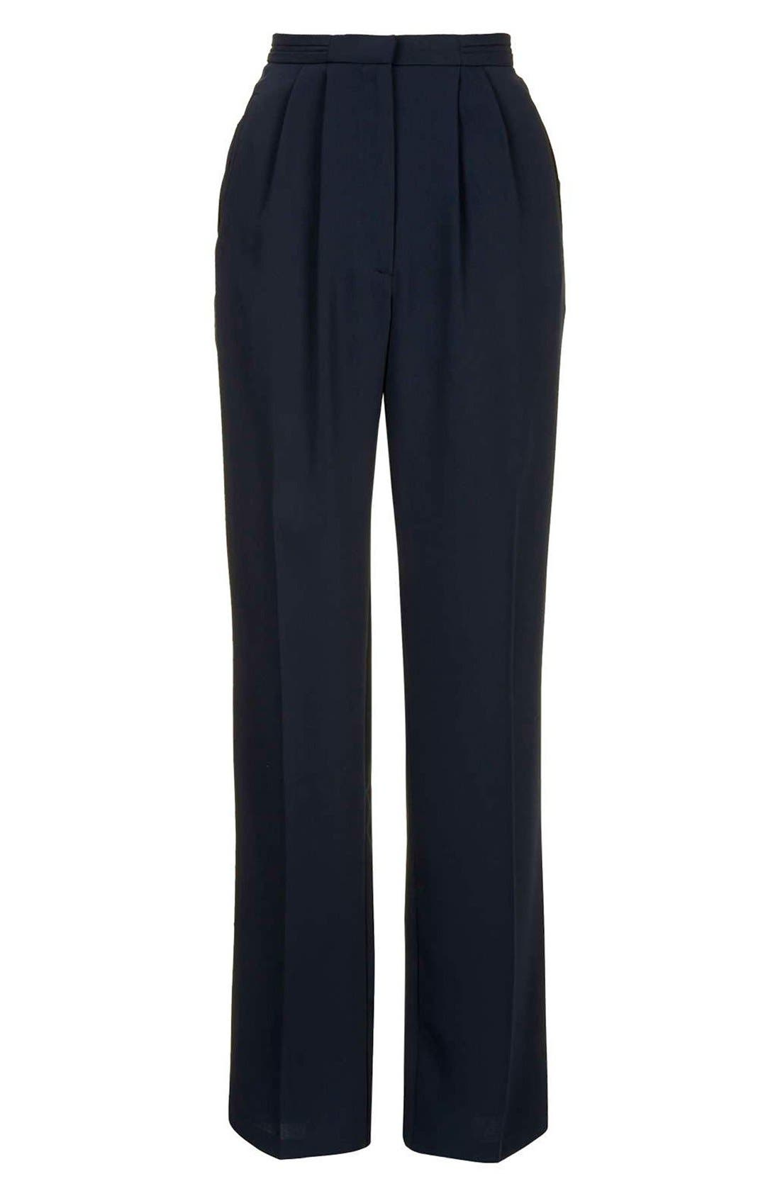 Slouchy Straight Leg Trousers,                             Alternate thumbnail 3, color,                             Navy Blue