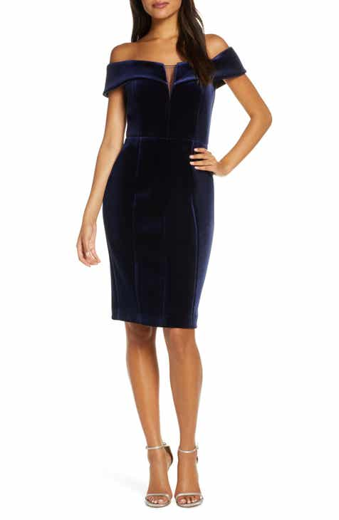 Vince Camuto Off the Shoulder Velvet Sheath Dress